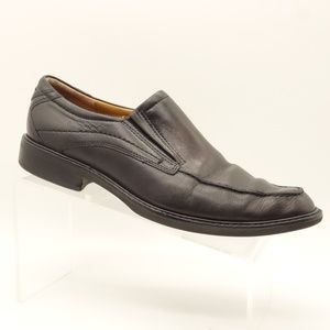 ECCO Loafers Black Leather Slip On Dress Shoes